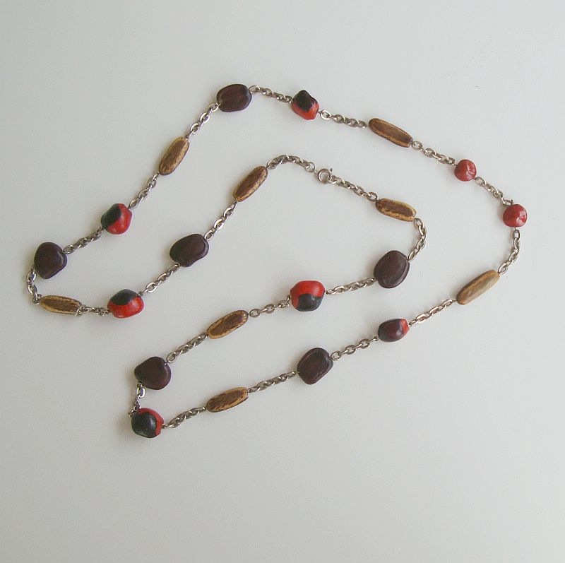 Black Red Brown Seed Nut Bead Necklace 30 inches long