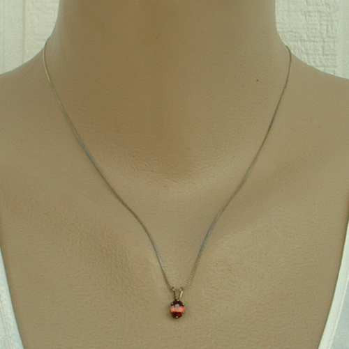 Garnet Sterling Silver Pendant Necklace Simple Elegant Jewelry