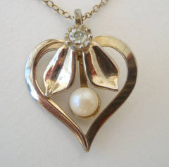 Heart Pendant Necklace Pearl Rhinestone Vintage Sweetheart Jewelry