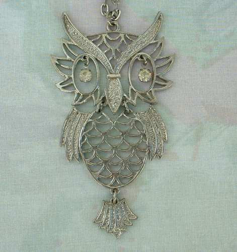 Articulated Owl Pendant Necklace Rhinestone Eyes Large Figural Jewelry