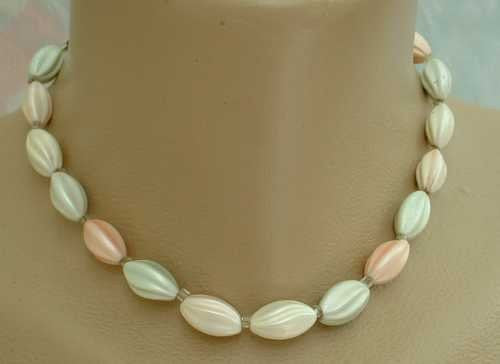 JAPAN Pastel Swirl Bead Necklace Blue Green Pink Peach Vintage Jewelry