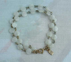 EMMONS Double Strand White Beaded Bracelet Vintage Jewelry
