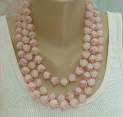 Hong Kong Pink 3 Strand Vintage Necklace Plastic Beads w Hats