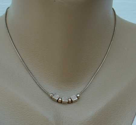 HAN Sterling Silver Signed Cobra Chain w Square Round Beads Italy