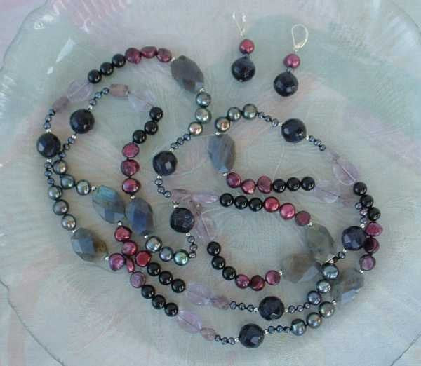 Labradorite Sparkle Stone Pearls Amethyst Necklace Set Jewelry