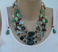 Gemstone 3-Strand Necklace Earrings Set Citrine Turquoise Smoky Quartz New Jewelry