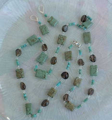 Green Turquoise Smoky Quartz Necklace Pierced Earrings SET Gemstone Jewelry