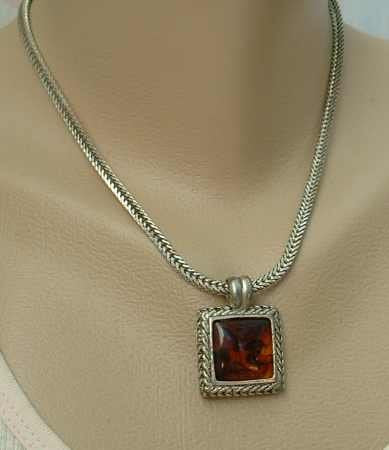 Lucite Pendant Necklace Square Herringbone Chain Celtic Style