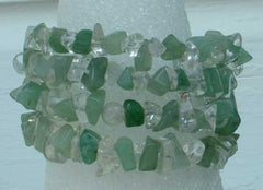 Green Aventurine and Clear Quartz Triple Wrap Bracelet Gemstone Jewelry