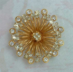 St John knits Crystal Spray Brooch Sparkling Designer Jewelry