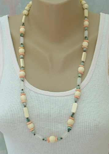 Amazonite Bone Rose Quartz Long Bead Necklace Jewelry