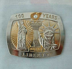 Statue of Liberty Belt Buckle Ltd Ed SS 24K plated Gen Diamond NIB