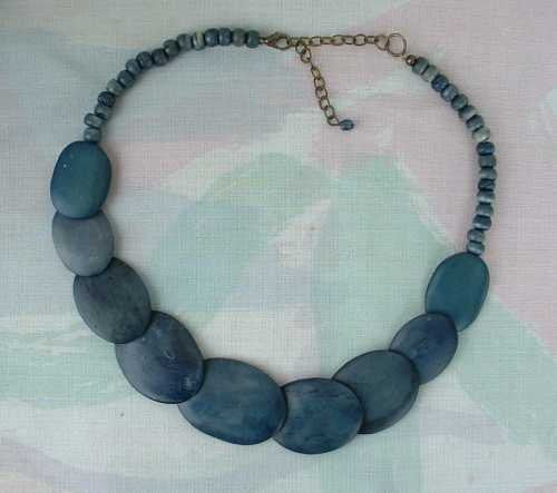Polymer Clay Lapis-Looking Flat Disk Bead Necklace 19 Inches Vintage Jewelry