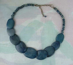 Polymer Clay Blue Lapis-Looking Flat Disk Bead Necklace Jewelry