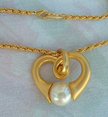 PARK LANE Matt Heart Pearl Pendant Necklace Jewelry