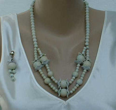 Lt Blue Clay Bead Necklace Post Earrings SET Fun Vintage Jewlry