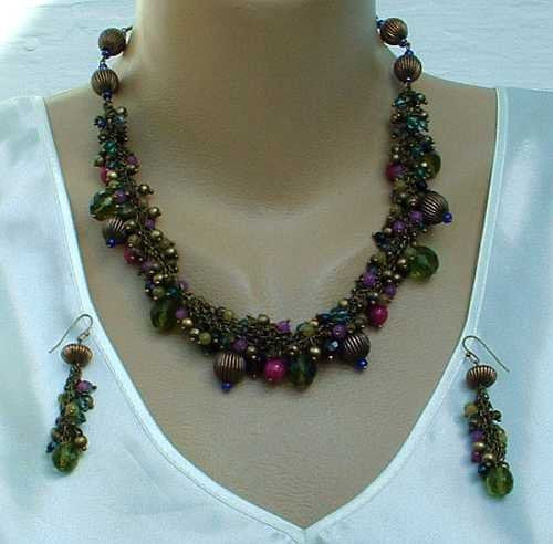 Chico's Olive Red Purple Ribbed Bead Necklace Pierced Earrings Jewelry SET