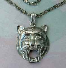 Lion Open Mouthed Pendant Necklace Greek Key Chain Vintage Jewelry