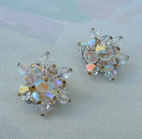 JAPAN  Bi Cone AB Clip Earrings Aurora Borealis Jewelry