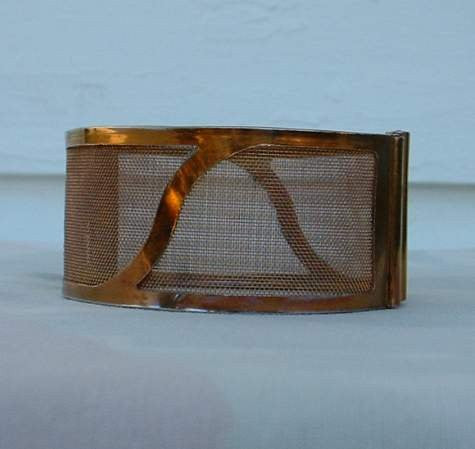 Copper Washed Mesh Geometric Clamper Bracelet Vintage Jewelry