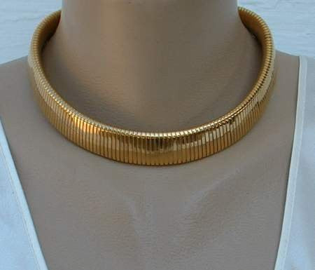 Monet Omega Choker Wide Chain Necklace Vintage Jewelry Sharon S