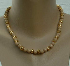 NAPIER Brown Gold Bead Necklace 18 inches Vintage Jewelry