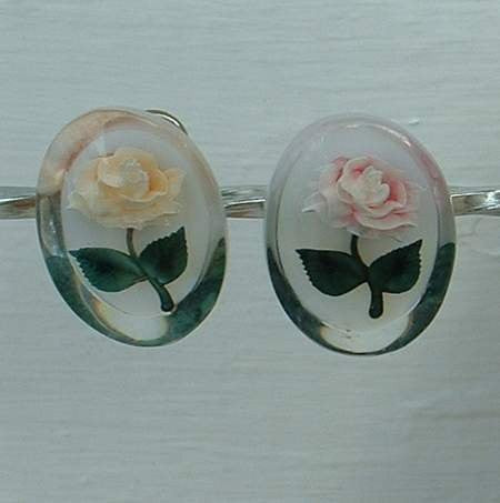 Pink Yellow Roses Reverse Carved Screw Earrings Floral Vintage Jewelry
