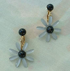 Gray Black Enameled Flower Dangle Clip Earrings Floral Vintage Jewelry