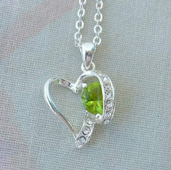 Nancy and Rise Open Heart Pendant Necklace Peridot Rhinestones Jewelry