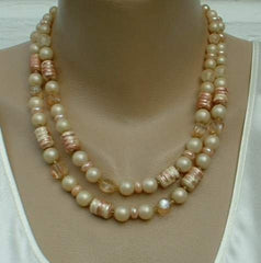 JAPAN 2 Strand Faux Pearl Lacquer Bead Necklace Vintage Jewelry