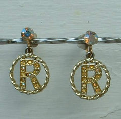 Letter R Monogramed AB Rhinestone Screw Earrings Vintage Jewelry