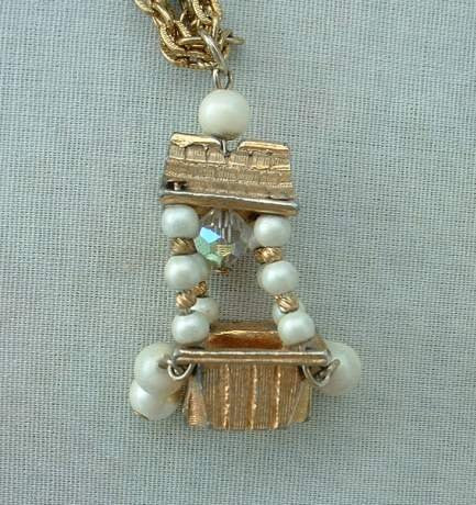 Pagoda Pendant Necklace Crystal Faux Pearl 2 Strands Vintage Jewelry