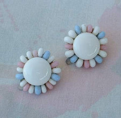 JAPAN Pastel White Blue Pink Floral Clip On Earrings Vintage Jewelry