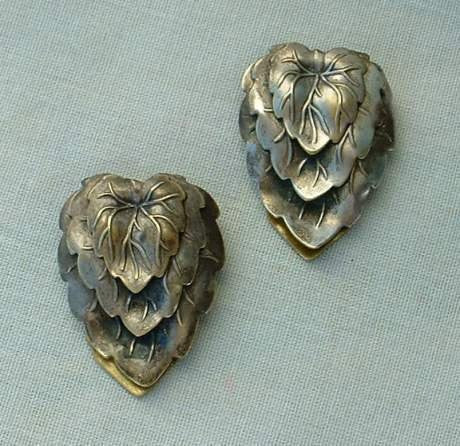 Antiqued Brass Vintage Fur Dress Clips Layered Leaves Floral Vintage Jewelry