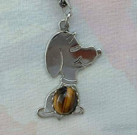 Snoopy Dog Tigers Eye Pendant Necklace Vintage Figural Jewelry
