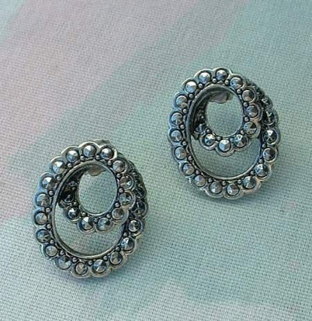 AVON Faux Marcasite Spiral Knots Post Earrings Jewelry