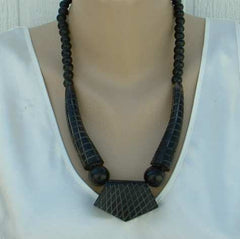Dyed Horn Art Deco Style Necklace Dark Brown Vintage Jewelry