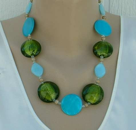 Green Foil Lampwork Necklace Blue Glass Sparkle Balls Jewelry