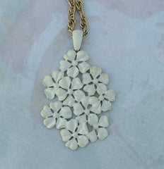 Large White Floral Bouquet Pendant Necklace Vintage Jewelry