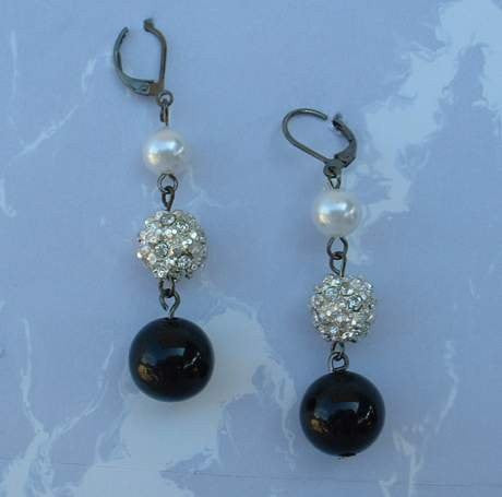 Rhinestone Faux Marcasites Leverback Dangle Earrings Fab Bling Vintage Jewelry