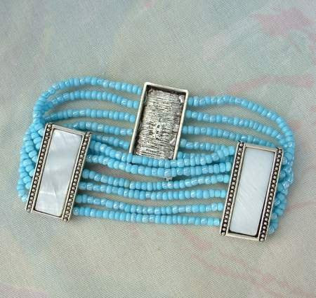 Nancy and Rise Signed Bracelet 6 Strands Blue Bead MOP Jewelry