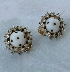 St John Knits Retro Vintage Black White Rhinestone Clip Earrings Jewelry