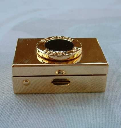 St John Knits Black Enamel Gold Plated Pill Trinket Box