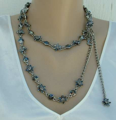 St John Knits Evening Hematite Jet Belt Flapper Necklace NWT Jewelry