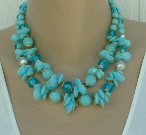 West Germany Blue Teal Fruit Salad Prystal 2 Strand Necklace Vintage Jewelry