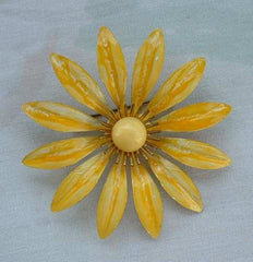 Yellow Striped Enameled Flower Pin Brooch Floral Vintage Jewelry
