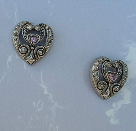 AVON Egyptian Revival Niello Rhinestone Heart Post Earrings