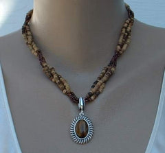 AVON SP Tigers Eye Pendant Bead Necklace Jewelry