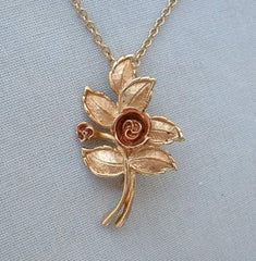 AVON Enameled Rose Pendant Necklace Brooch Pin Jewelry