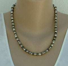 Liz Claiborne Heavy Antiqued Silver Bead Necklace Jewelry